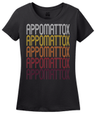 Ladies Black Appomattox, VA | Retro, Vintage Style Virginia Pride  T-shirt