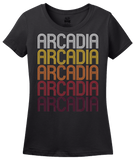 Ladies Black Arcadia, LA | Retro, Vintage Style Louisiana Pride  T-shirt