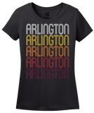 Ladies Black Arlington, NE | Retro, Vintage Style Nebraska Pride  T-shirt
