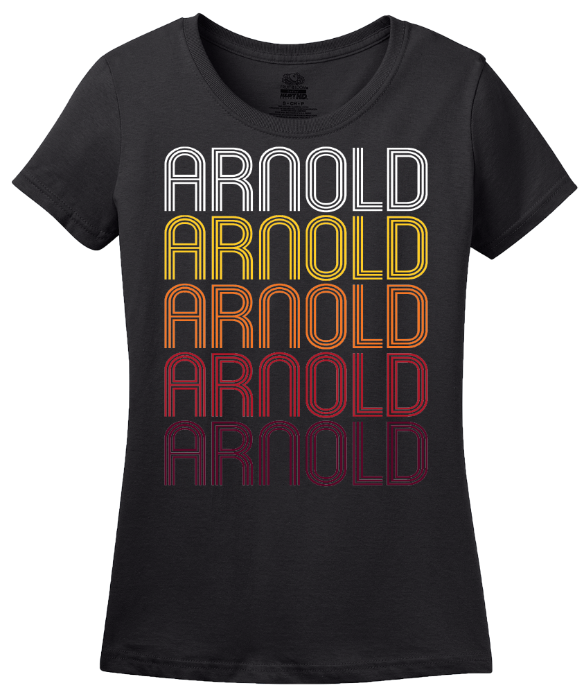 Ladies Black Arnold, PA | Retro, Vintage Style Pennsylvania Pride  T-shirt