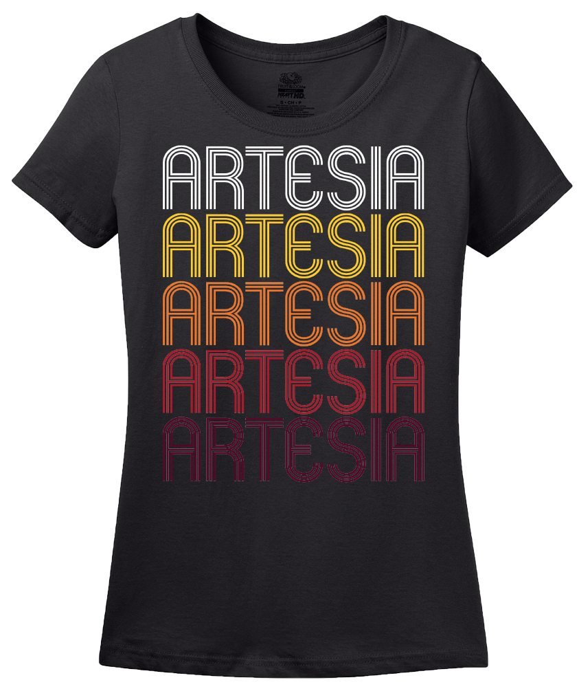 Ladies Black Artesia, CA | Retro, Vintage Style California Pride  T-shirt