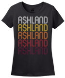 Ladies Black Ashland, NE | Retro, Vintage Style Nebraska Pride  T-shirt