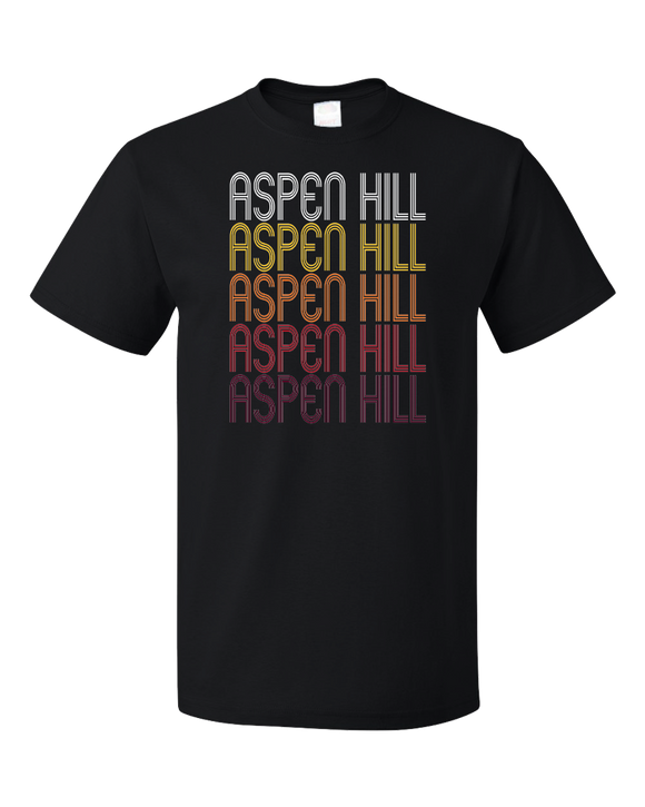 Standard Black Aspen Hill, MD | Retro, Vintage Style Maryland Pride  T-shirt