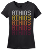 Ladies Black Atkins, IA | Retro, Vintage Style Iowa Pride  T-shirt