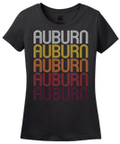 Ladies Black Auburn, IN | Retro, Vintage Style Indiana Pride  T-shirt