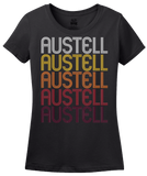Ladies Black Austell, GA | Retro, Vintage Style Georgia Pride  T-shirt