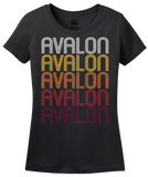 Ladies Black Avalon, CA | Retro, Vintage Style California Pride  T-shirt