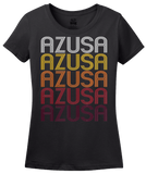 Ladies Black Azusa, CA | Retro, Vintage Style California Pride  T-shirt