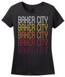 Ladies Black Baker City, OR | Retro, Vintage Style Oregon Pride  T-shirt