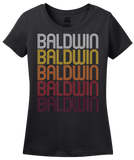 Ladies Black Baldwin, WI | Retro, Vintage Style Wisconsin Pride  T-shirt