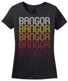 Ladies Black Bangor, ME | Retro, Vintage Style Maine Pride  T-shirt