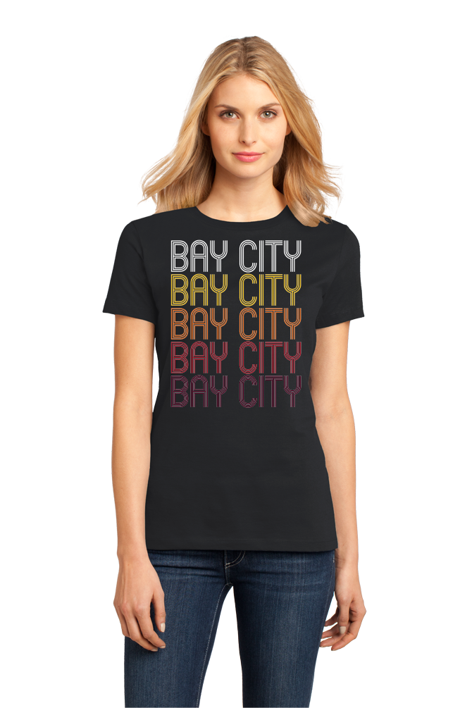 Ladies Black Bay City, OR | Retro, Vintage Style Oregon Pride  T-shirt