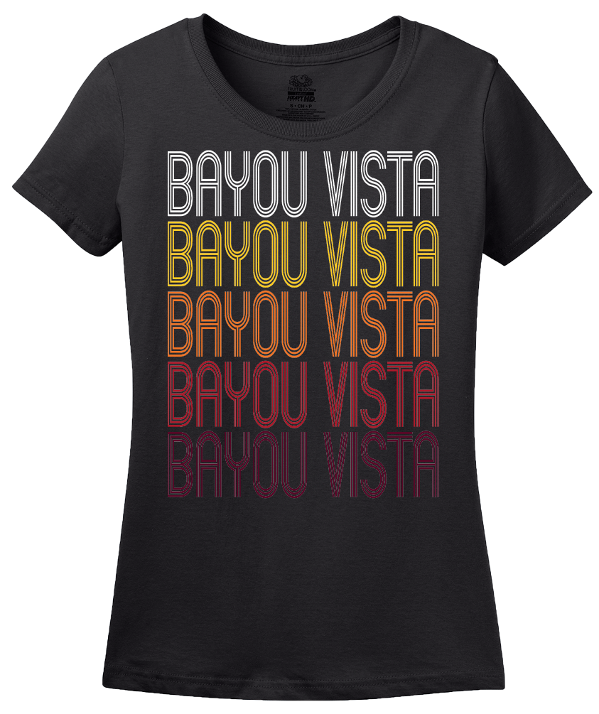 Ladies Black Bayou Vista, TX | Retro, Vintage Style Texas Pride  T-shirt
