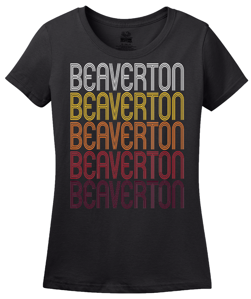 Ladies Black Beaverton, OR | Retro, Vintage Style Oregon Pride  T-shirt