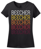 Ladies Black Beecher, IL | Retro, Vintage Style Illinois Pride  T-shirt