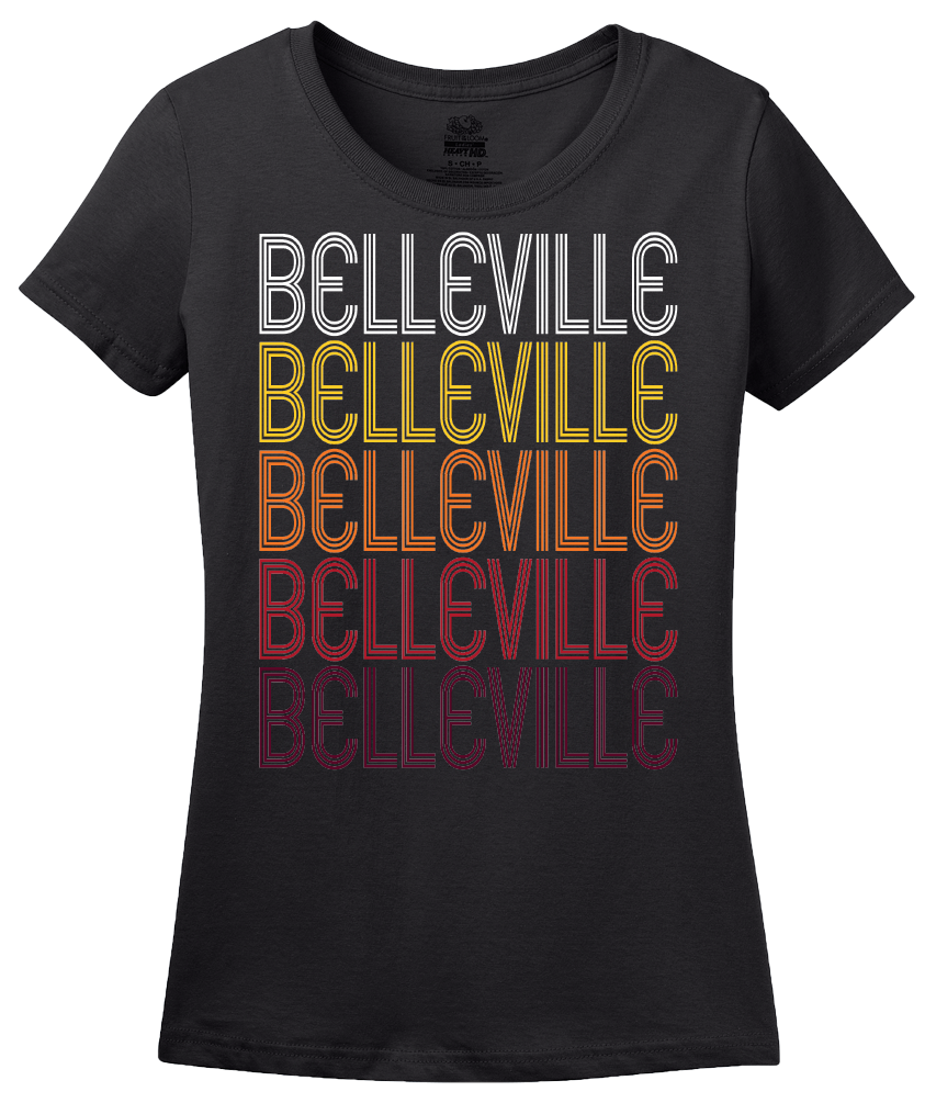 Ladies Black Belleville, IL | Retro, Vintage Style Illinois Pride  T-shirt