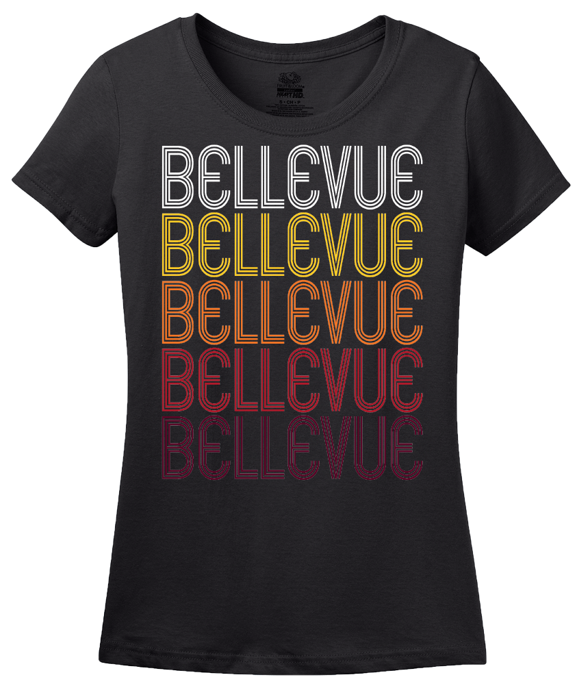Ladies Black Bellevue, PA | Retro, Vintage Style Pennsylvania Pride  T-shirt