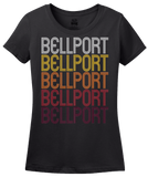 Ladies Black Bellport, NY | Retro, Vintage Style New York Pride  T-shirt