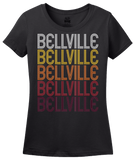 Ladies Black Bellville, TX | Retro, Vintage Style Texas Pride  T-shirt