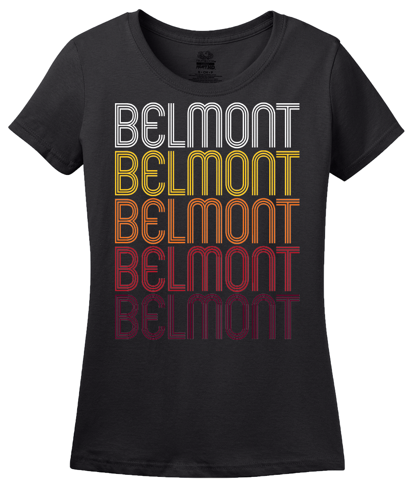 Ladies Black Belmont, MS | Retro, Vintage Style Mississippi Pride  T-shirt