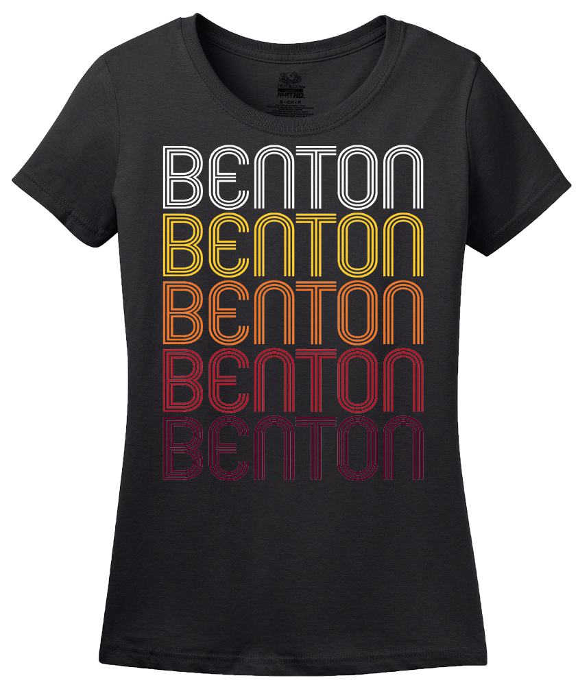 Ladies Black Benton, AR | Retro, Vintage Style Arkansas Pride  T-shirt