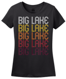 Ladies Black Big Lake, TX | Retro, Vintage Style Texas Pride  T-shirt