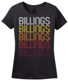 Ladies Black Billings, WY | Retro, Vintage Style Wyoming Pride  T-shirt