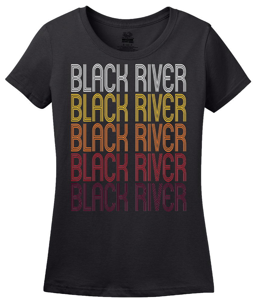 Ladies Black Black River, NY | Retro, Vintage Style New York Pride  T-shirt