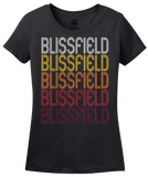 Ladies Black Blissfield, MI | Retro, Vintage Style Michigan Pride  T-shirt