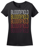 Ladies Black Bloomfield, IA | Retro, Vintage Style Iowa Pride  T-shirt