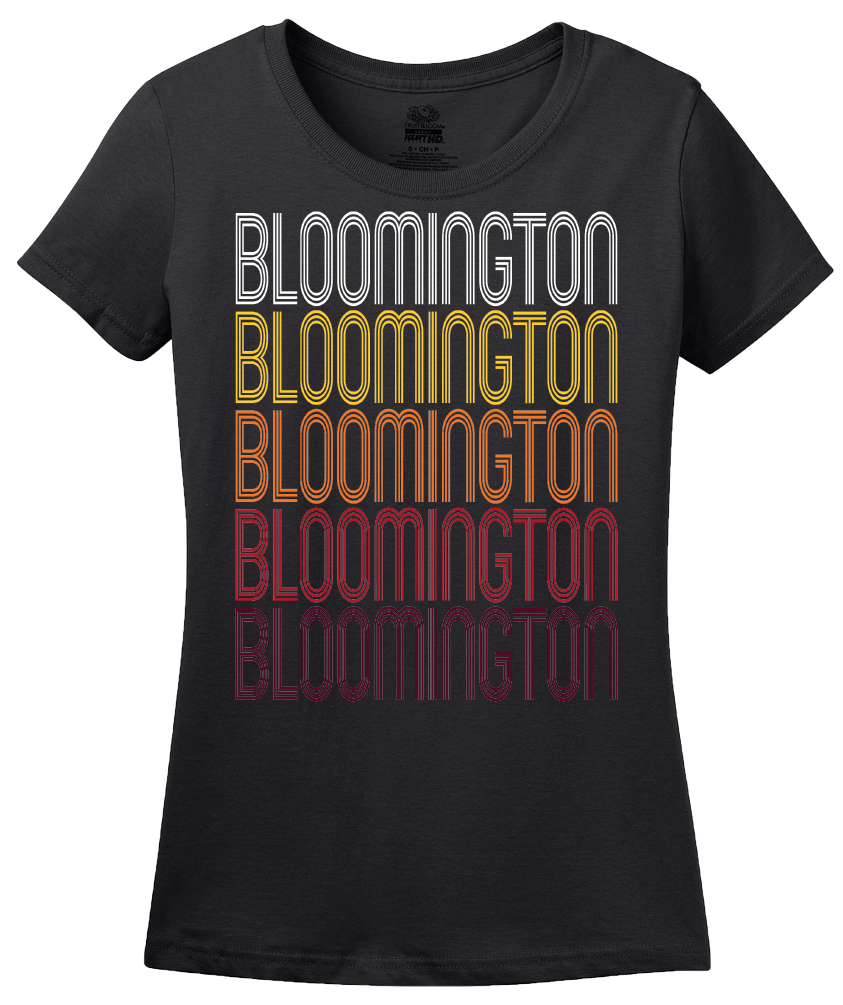 Ladies Black Bloomington, IL | Retro, Vintage Style Illinois Pride  T-shirt