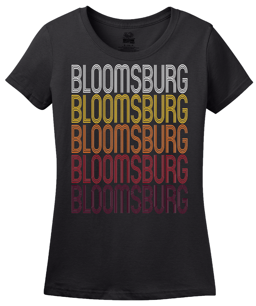 Ladies Black Bloomsburg, PA | Retro, Vintage Style Pennsylvania Pride  T-shirt