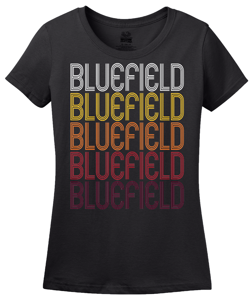 Ladies Black Bluefield, WV | Retro, Vintage Style West Virginia Pride  T-shirt