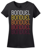 Ladies Black Bonduel, WI | Retro, Vintage Style Wisconsin Pride  T-shirt