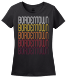 Ladies Black Bordentown, NJ | Retro, Vintage Style New Jersey Pride  T-shirt