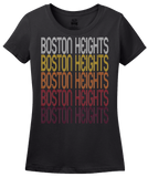 Ladies Black Boston Heights, OH | Retro, Vintage Style Ohio Pride  T-shirt