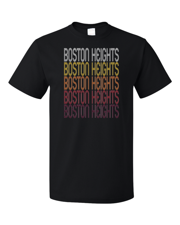 Standard Black Boston Heights, OH | Retro, Vintage Style Ohio Pride  T-shirt