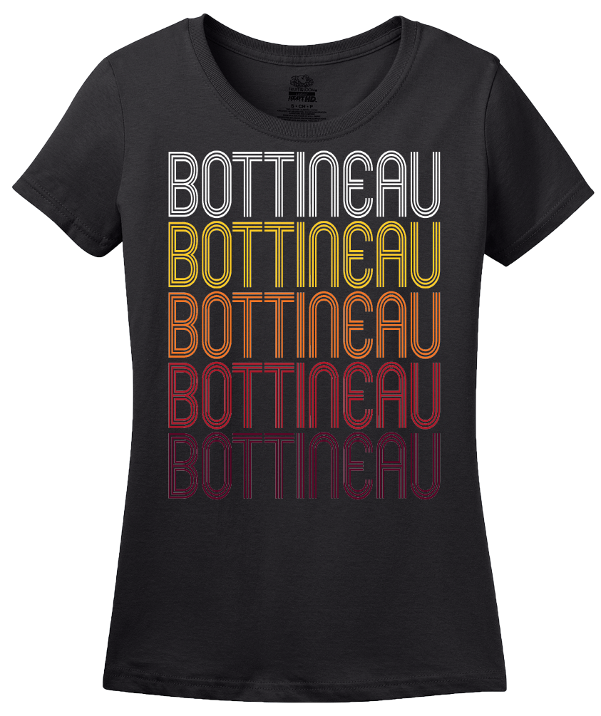 Ladies Black Bottineau, ND | Retro, Vintage Style North Dakota Pride  T-shirt