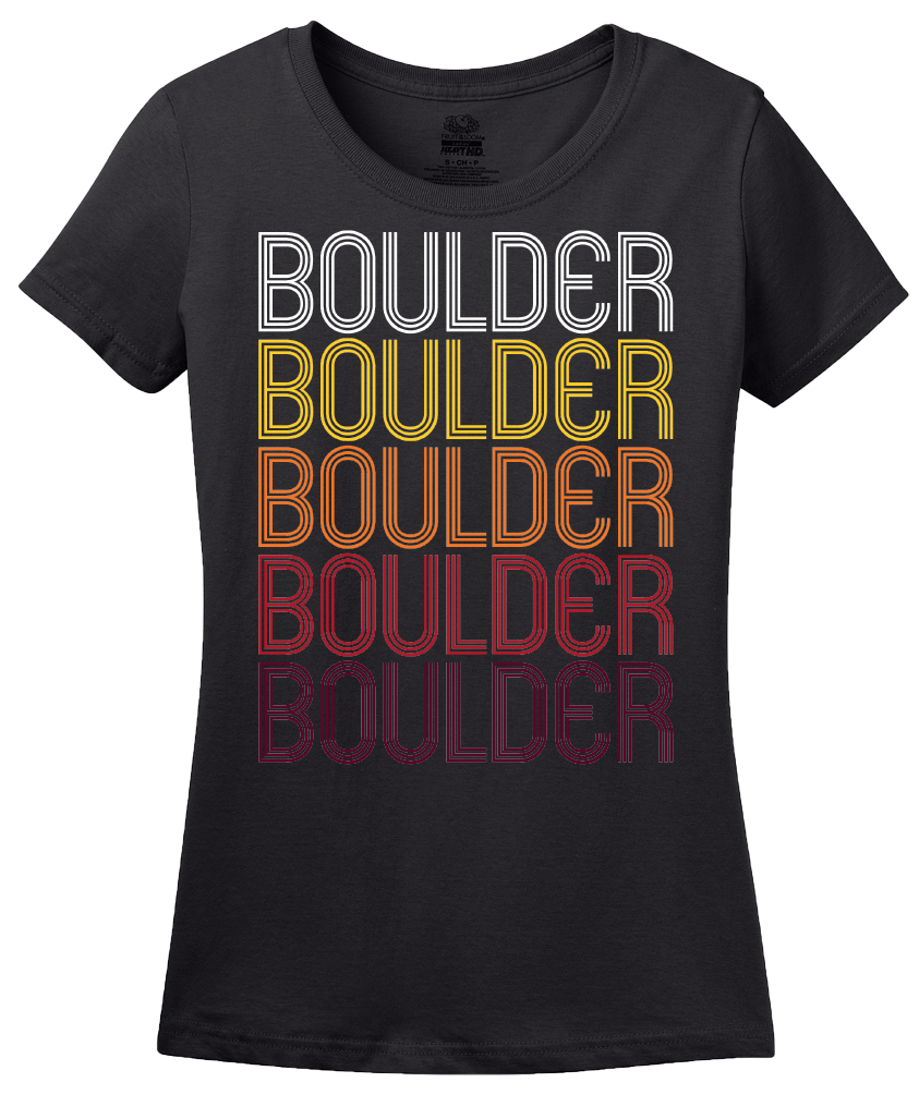 Ladies Black Boulder, CO | Retro, Vintage Style Colorado Pride  T-shirt