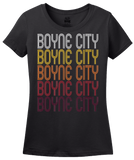 Ladies Black Boyne City, MI | Retro, Vintage Style Michigan Pride  T-shirt