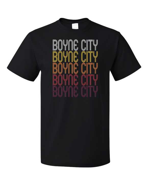Standard Black Boyne City, MI | Retro, Vintage Style Michigan Pride  T-shirt