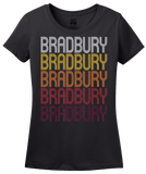 Ladies Black Bradbury, CA | Retro, Vintage Style California Pride  T-shirt