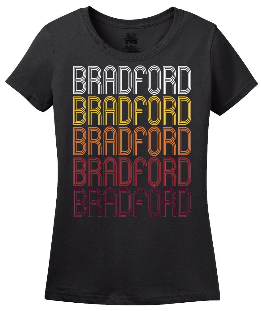 Ladies Black Bradford, OH | Retro, Vintage Style Ohio Pride  T-shirt