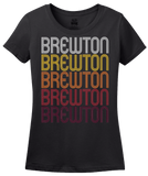 Ladies Black Brewton, AL | Retro, Vintage Style Alabama Pride  T-shirt
