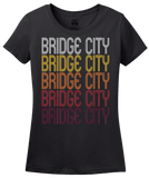 Ladies Black Bridge City, TX | Retro, Vintage Style Texas Pride  T-shirt