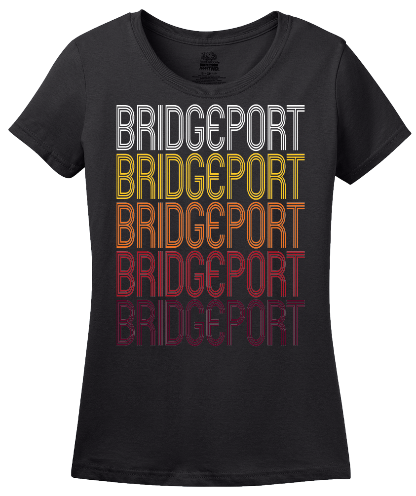 Ladies Black Bridgeport, WA | Retro, Vintage Style Washington Pride  T-shirt
