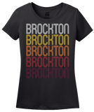 Ladies Black Brockton, MA | Retro, Vintage Style Massachusetts Pride  T-shirt