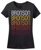 Ladies Black Bronson, MI | Retro, Vintage Style Michigan Pride  T-shirt