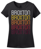 Ladies Black Broxton, GA | Retro, Vintage Style Georgia Pride  T-shirt