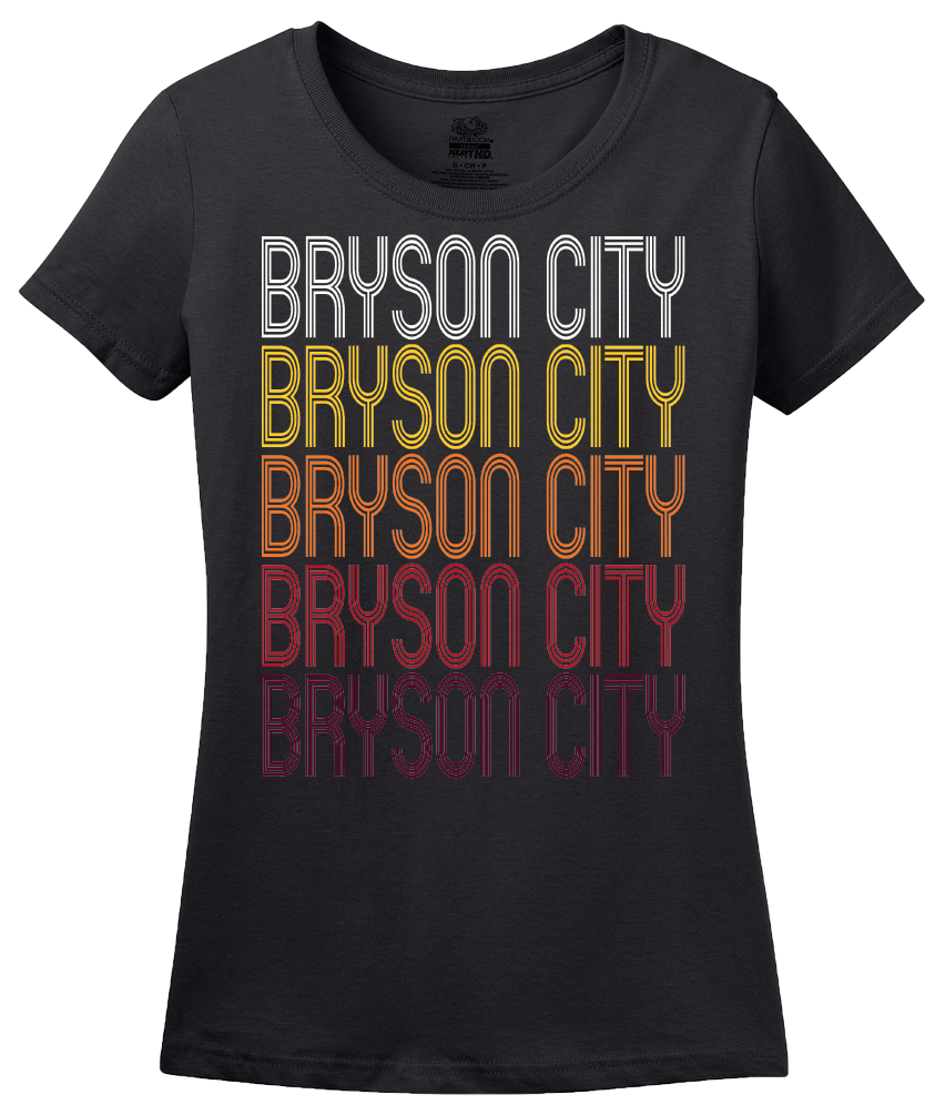 Ladies Black Bryson City, NC | Retro, Vintage Style North Carolina Pride  T-shirt